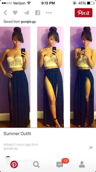 skirt slit skirt double slit skirt navy navy blue dress bustier strapless lace top bralette crop tops top slit maxi skirt
