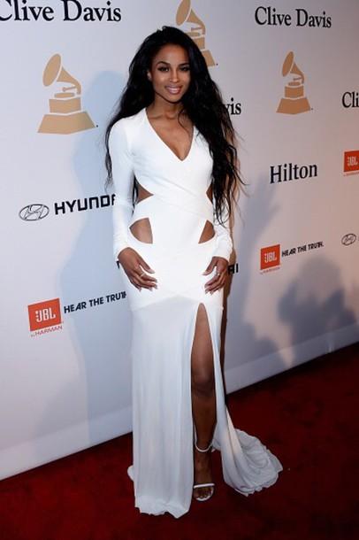dress white dress gown prom grammys c ciara