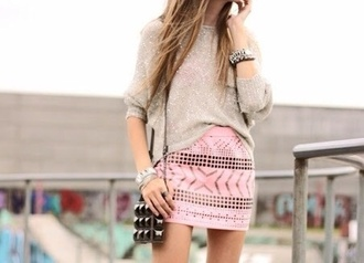 bag sweater cute jewels skirt outfit girly tribal pattern grey