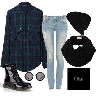 shirt cute cute top cute outfits boots black dress black plaid plaid skirt plaid shirt plaid jacket jeans ripped jeans sunglasses round sunglasses mirrored sunglasses light blue jeans light blue