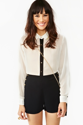 Beaded Tux Blouse  in  Lookbooks On The Loose at Nasty Gal