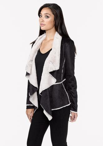 jacket faux fur faux fur jacket short jacket vegan jacket lovestitch shoplovestitch