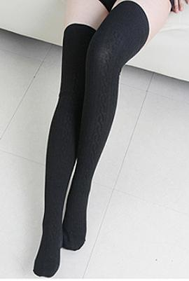 05f2ce8a1 Preppy Life Cable Knit Thigh High Socks in Black