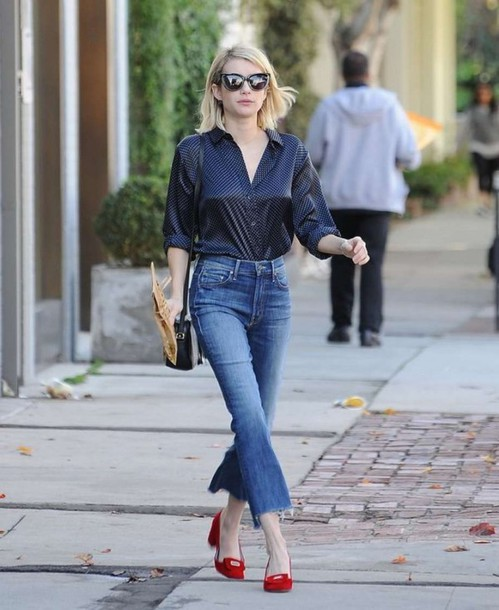 Blouse: denim, fall outfits, flats, emma roberts, jeans, cropped ...
