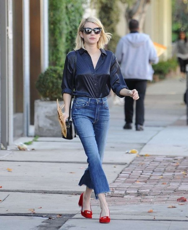 blouse, denim, fall outfits, flats, emma roberts, jeans ...