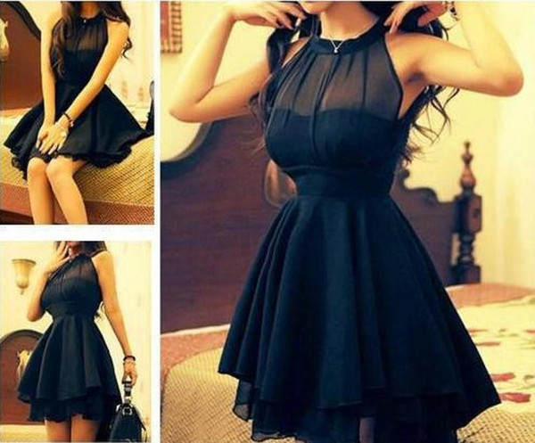 Mesh front cute slim dress for women black