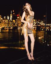 dress,gold,gold dress,gigi hadid,model off-duty,mini dress,bustier dress,shoes,pumps,metallic,celebrity