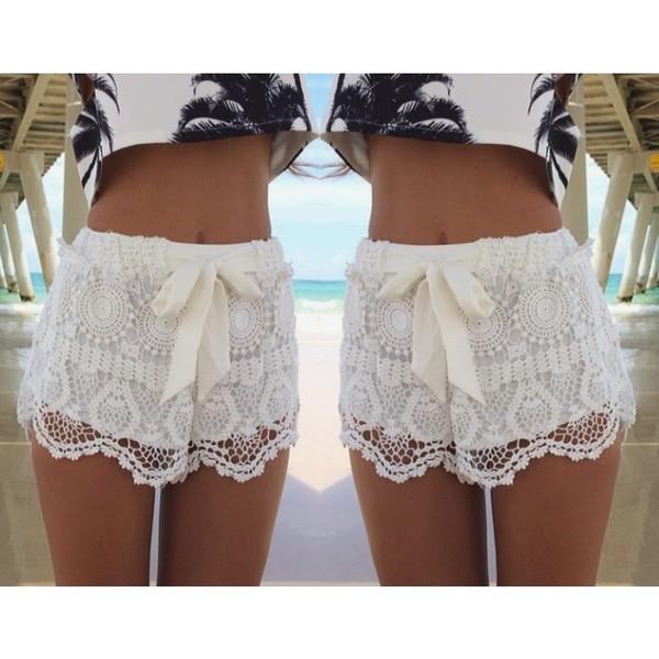 Nextshe Women Summer Fashion Free Shipping Solid White Lace Shorts ...