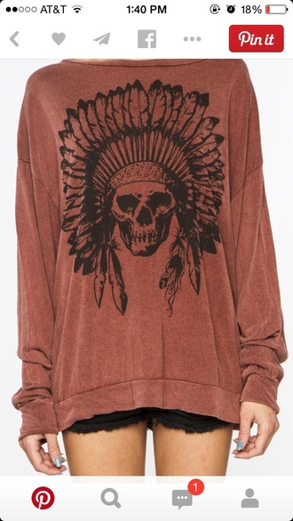 top orange skull indian