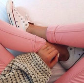 jeans,pink,sweater,pink jeans,pink pants,tight jeans,converse,tumblr,all of it,shoes,jewelry,sneakers,clothes,pastel,jeggings,jewels,jacket,white and red converse,pants