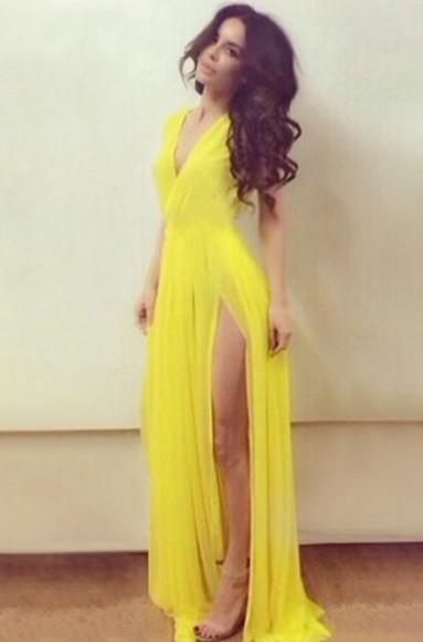 yellow dress lime green dress slit dress long dress