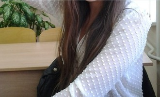 blouse mesh polka dots white
