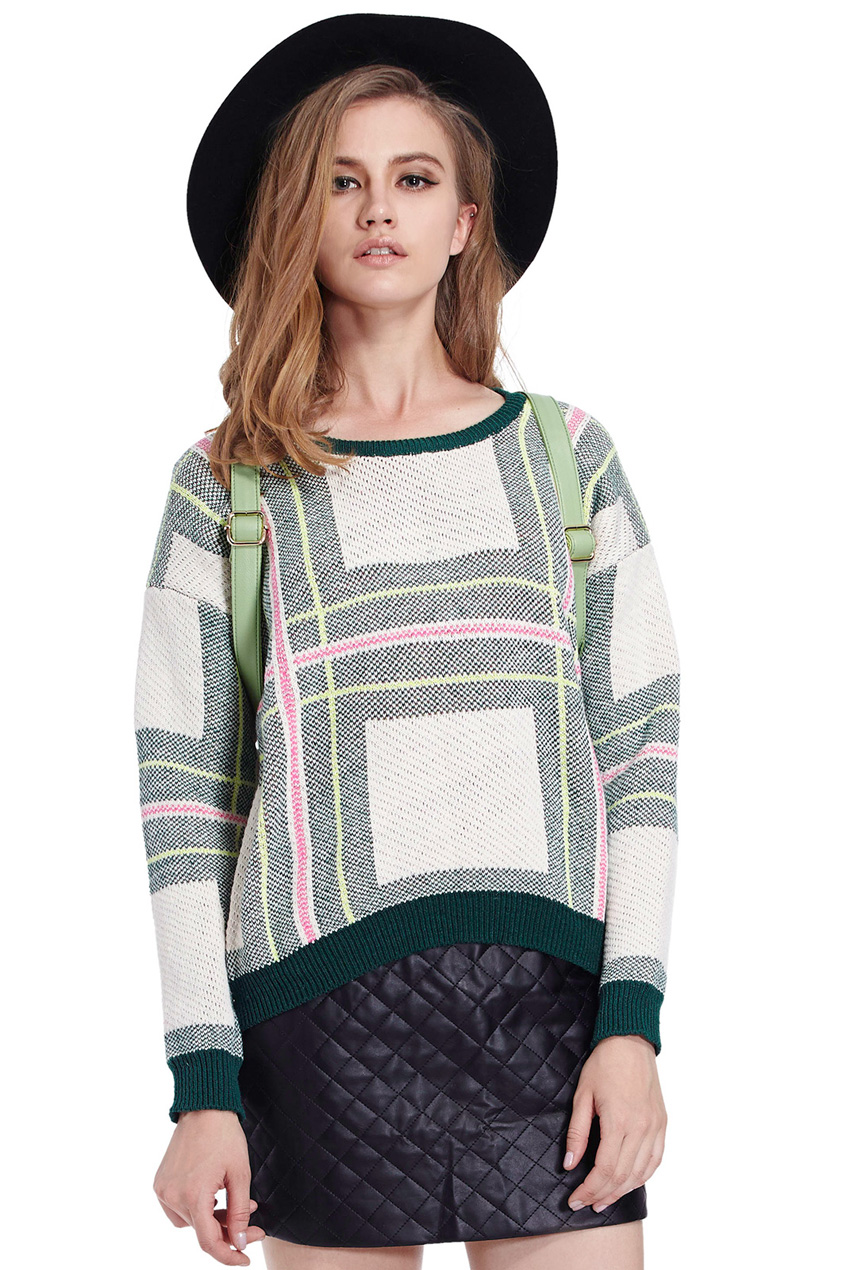 ROMWE | Romwe Striped Check Long-sleeved Green Jumper, The Latest Street Fashion