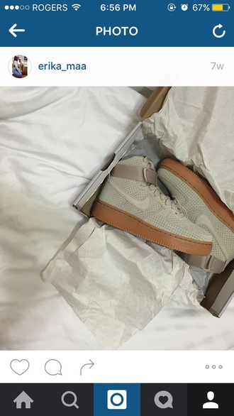 shoes nike taupe beige nike air force 1 new high gum