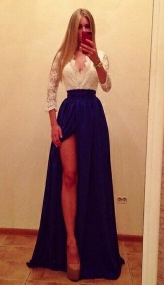 dress bleu dentelle long