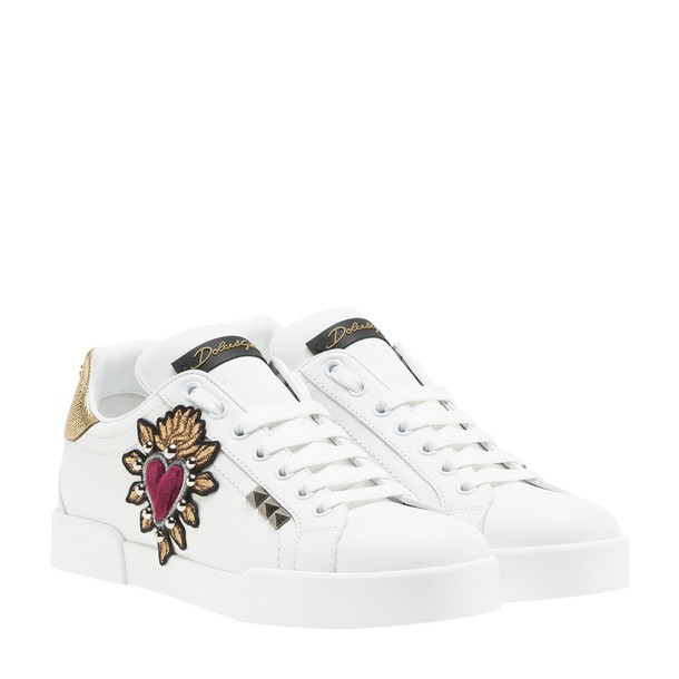 heart embroidered sneakers gold white shoes