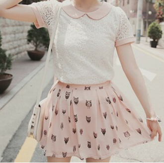 blouse cream white t-shirt pink pretty girly feminine summer chic lace see through