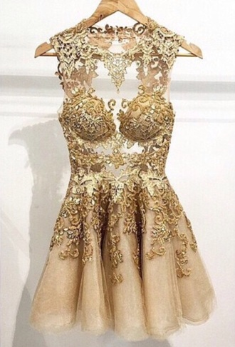 dress champagne lace gold short dress sexy prom dress party dress style lace dress gold dress tulle skirt gold sequins