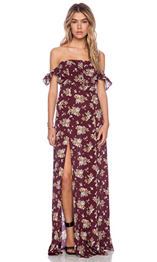 Flynn skye bardot maxi dress in burgundy bouquet from revolveclothing.com