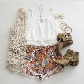 shorts colored colorful orange black white beautiful summer cute spring short high waisted tank top cardigan pants
