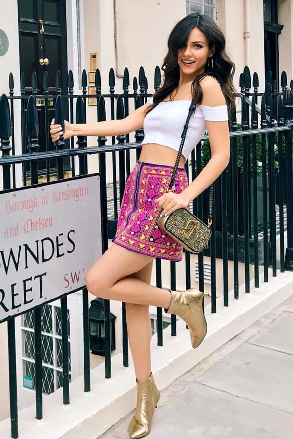 skirt mini skirt victoria justice celebrity ankle boots top off the shoulder crop tops