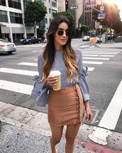 top,lace up,tumblr,stripes,striped top,bell sleeves,skirt,mini skirt