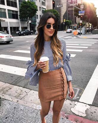 top lace up tumblr stripes striped top bell sleeves skirt mini skirt