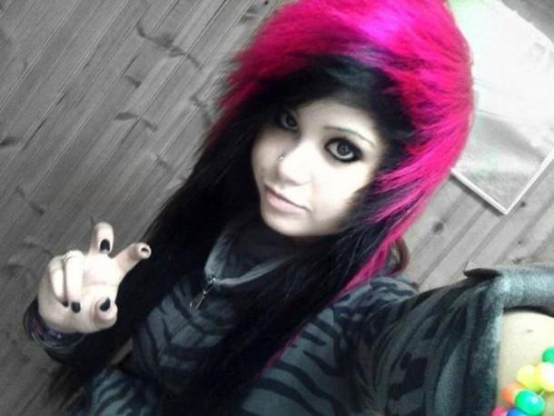 jacket urban planet clothes scene rave pink hair cute eyeliner scene emo piercing nail polish body modification