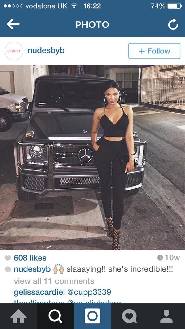 shirt black top heels bralet top straps