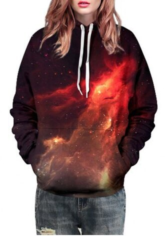 sweater galaxy print trendy long sleeves stylish hooded long sleeve 3d galaxy print women's pullover hoodie sporty fashion fall outfits cool rosegal-dec