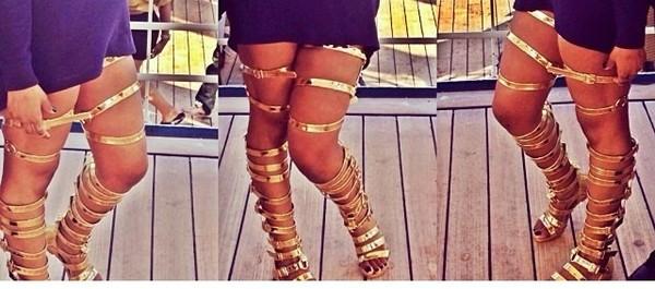 shoes gold strap sandals gladiators gladiators thigh highs