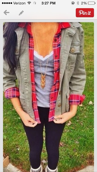 jacket love dream outfits lovely adorable outfit tshirt. so cute!!! plaid army green jacket lace cami fashion jewelry