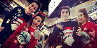 sweater mid red bow bennie tie dye santa claus christmas sweater snowflake happy face jacksgap jack harries zoella zoe sugg cute chrismastree red midnight blue christmas