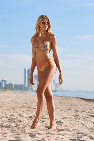 top grey tassel bikini delivery bikini top gold montce swim neutral orange print tan triangle bikiniluxe