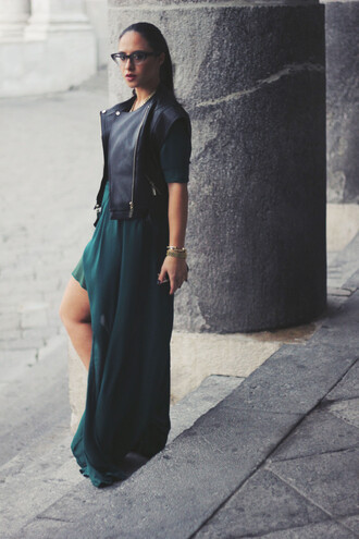the fashion twice blogger chiffon dress black leather jacket