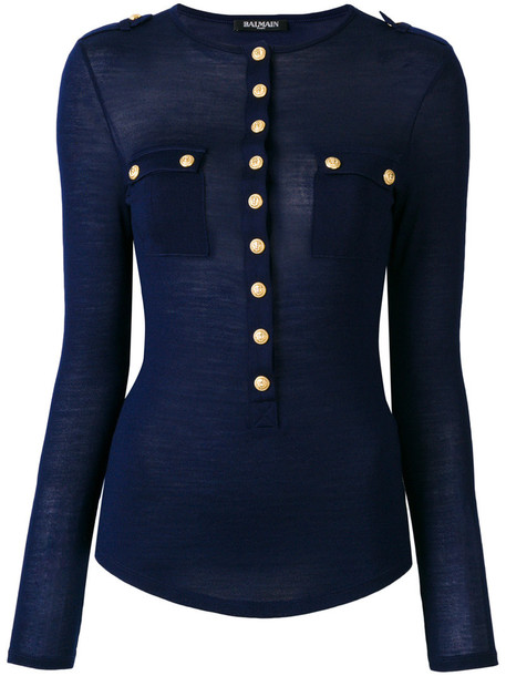 Balmain top embellished top women embellished blue silk wool