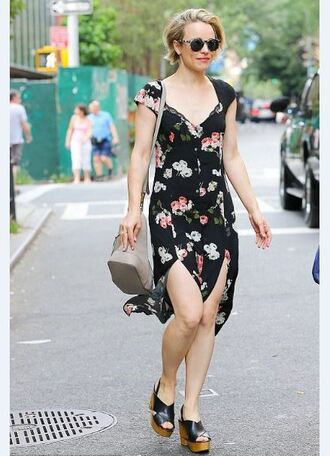 dress rachel mc adams wedges floral dress floral slit dress summer dress summer outfits shoes short hair