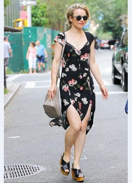 ad357431fc48 dress rachel mc adams wedges floral dress floral slit dress summer dress  summer outfits shoes short