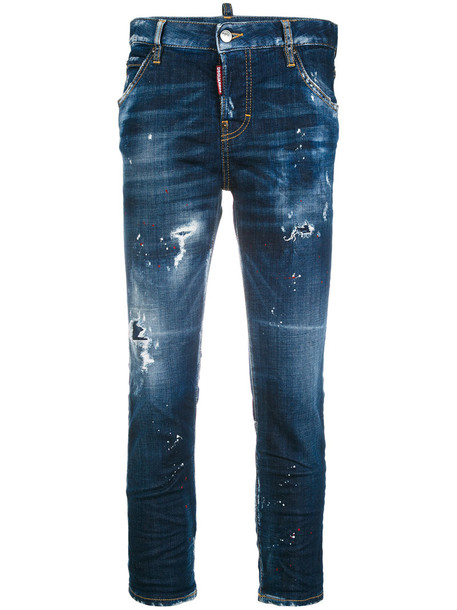 Dsquared2 jeans cropped jeans girl cool cropped women spandex cotton blue
