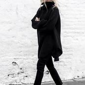 sweater,tumblr,black sweater,turtleneck,turtleneck sweater,oversized sweater,oversized,pants,black pants,all black everything