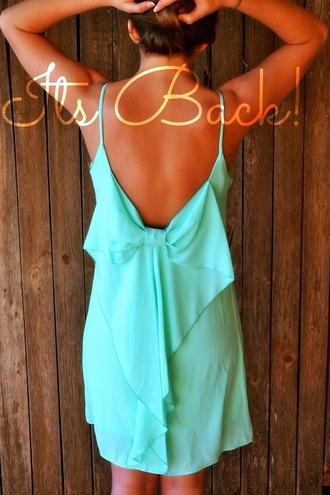 mint dress bow back dress