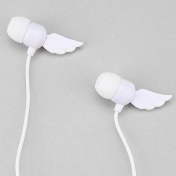 jewels earphones headphones music music band music video music accessory technology songs wings angel wings white home accessory