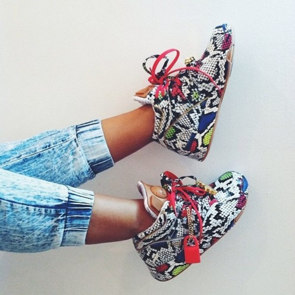 shoes sneakers colorful high top sneakers snake skin