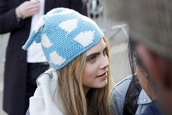 hat,beanie,blue,white,cara delevingne,clouds,pattern,cute,model,pretty,baby blue,colorful patterns,blonde hair,cara delevinge,fashion,hat beanie hair accessories,light blue,wool,cat ears