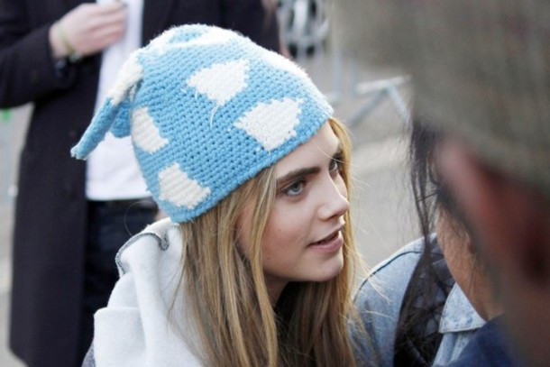 631e031d357 hat beanie blue white cara delevingne clouds pattern cute model pretty baby  blue clouds colorful patterns