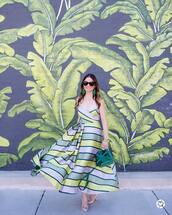 dress,green dress,tumblr,stripes,striped dress,maxi dress,slip dress,pumps,pointed toe pumps,high heel pumps,sunglasses,earrings,accent earrings,sandals with metal accent,jewels,shoes,bag