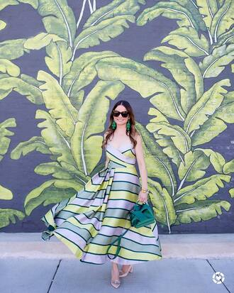 dress green dress tumblr stripes striped dress maxi dress slip dress pumps pointed toe pumps high heel pumps sunglasses earrings accent earrings sandals with metal accent jewels shoes bag