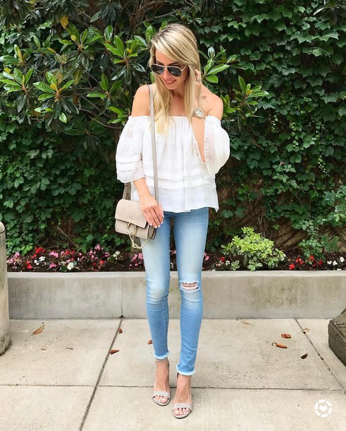 4dd7cc54da blouse tumblr white blouse top white top off the shoulder off the shoulder  top denim jeans