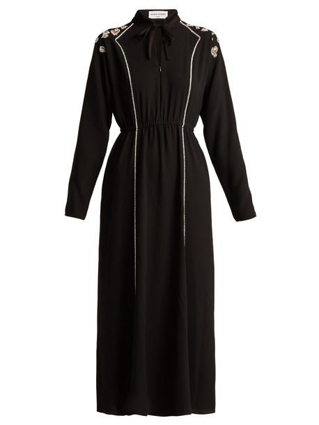 SONIA RYKIEL Crystal-embellished crepe maxi dress in black