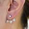 Crystal encrusted triple triangle ear jackets earrings